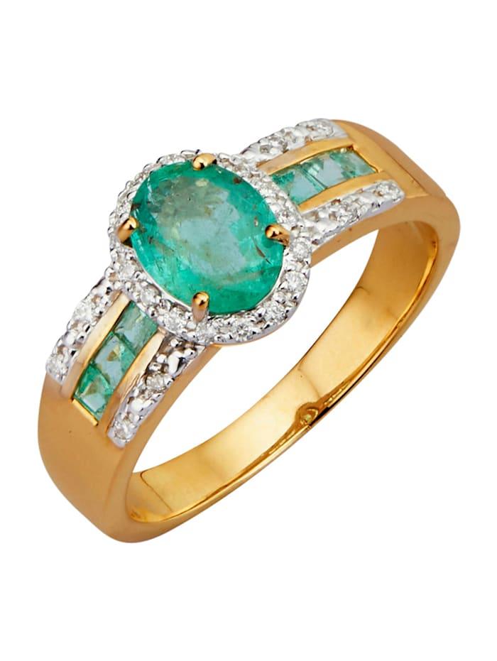 Diemer Farbstein Damesring met smaragden en briljanten, Groen