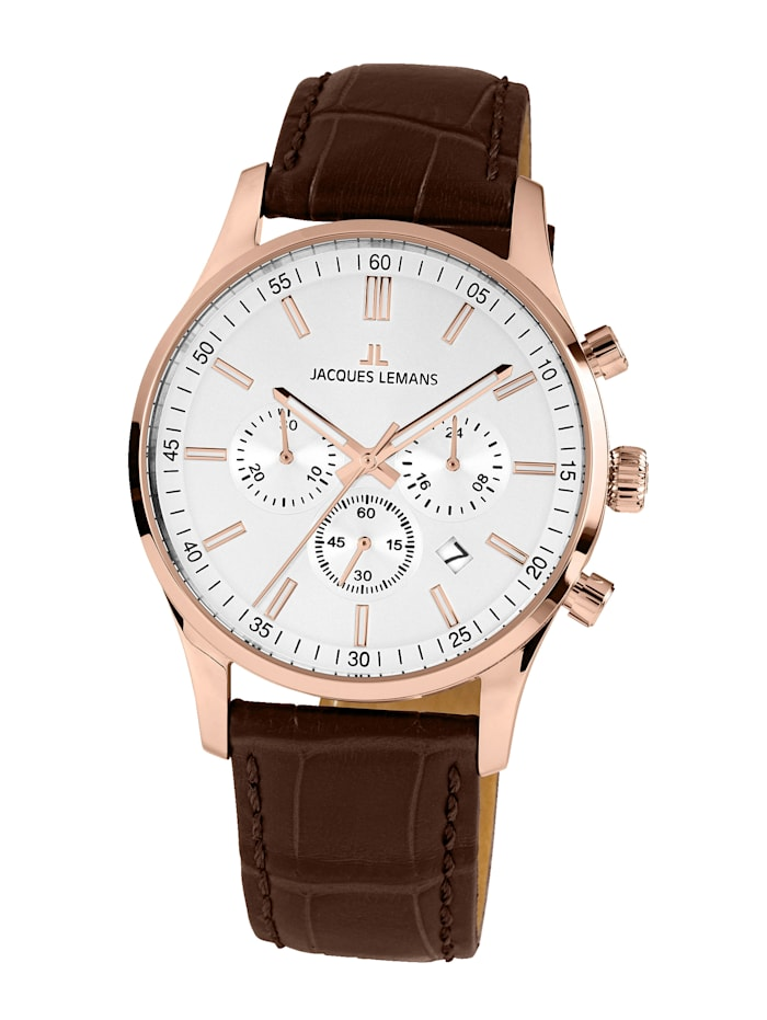 Jacques Lemans Herenchronograaf Serie: London, collectie Classic 1- 2025E, Bruin