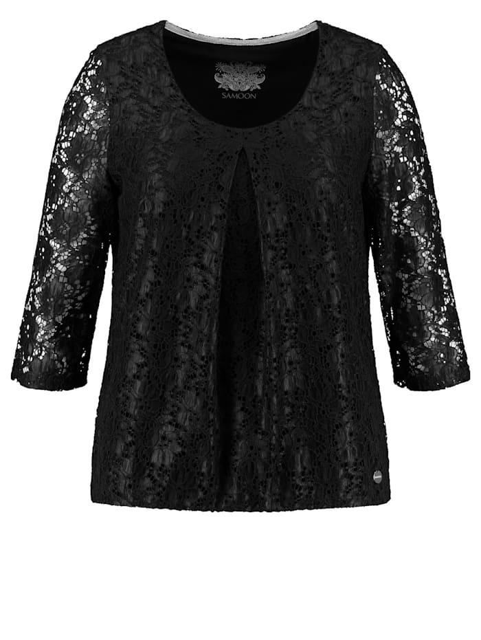 Samoon Elastisches Spitzenshirt, Black