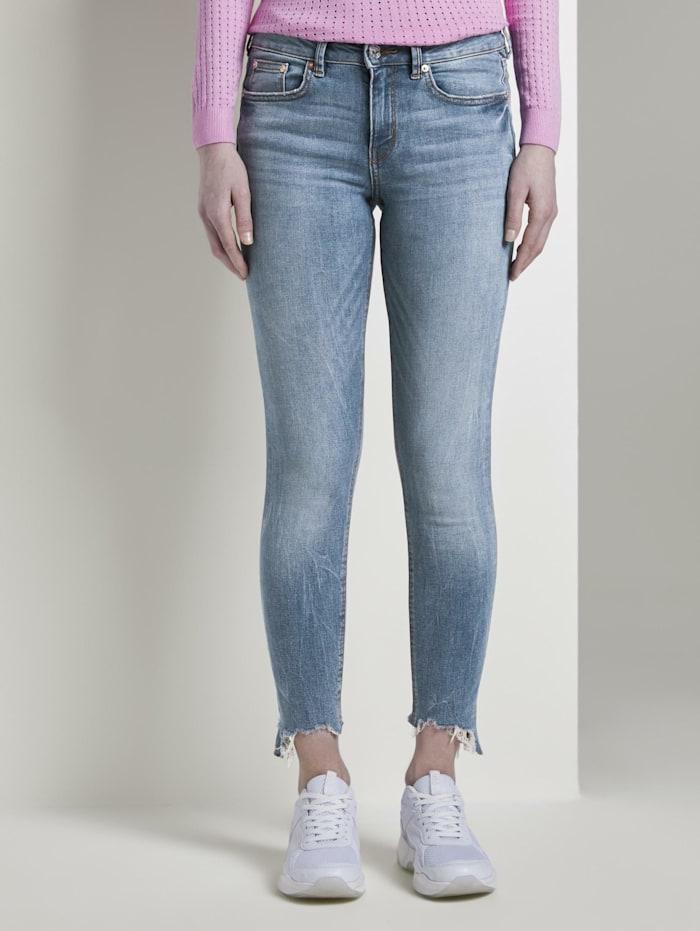 Tom Tailor Denim Jona Extra Skinny Jeans mit Fransen, Used Light Stone Blue Denim