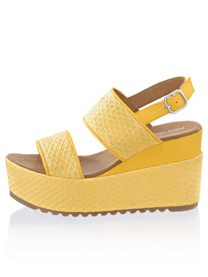 Alba Moda Sandaaltje met zomers design, Geel
