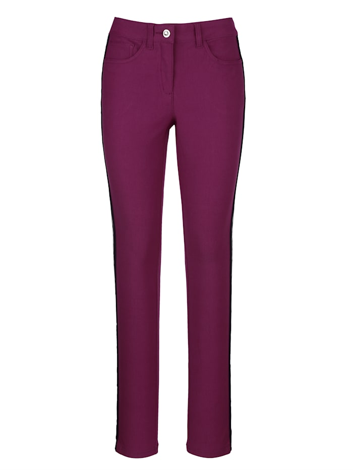 Dress In Trousers with fashionable side stripe, Blackberry
