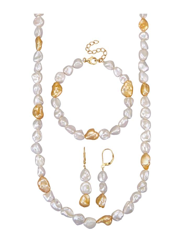 Amara Perles Parure de bijoux 3 pièces en perles de culture d'eau douce, Blanc
