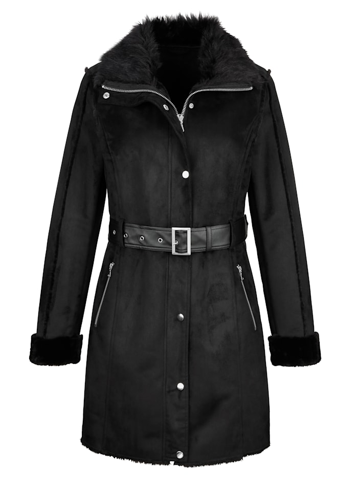 Faux leather jacket with faux shearling detailing