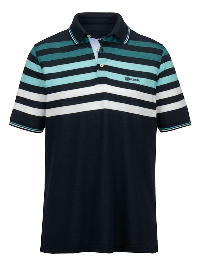BABISTA Poloshirt van luchtig piquémateriaal, Marine/Turquoise