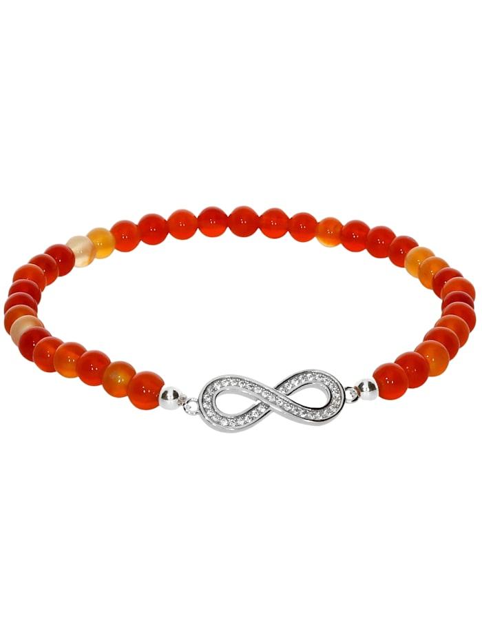 1001 Diamonds Karneol Armband 925 Silber 17 cm, orange