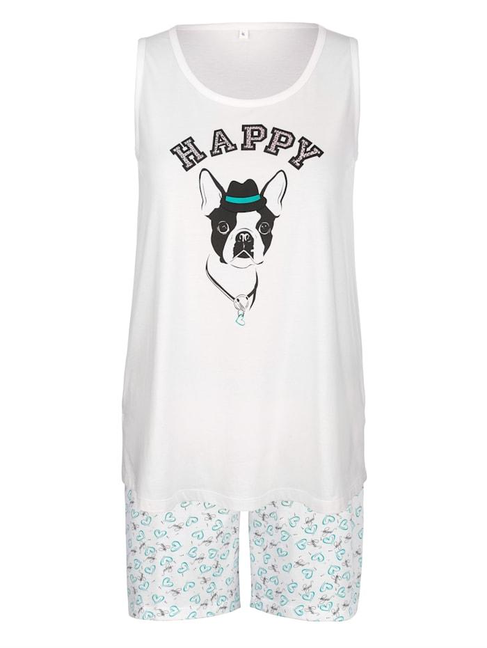 """Blue Moon Hihaton shortsipyjama """"Happy """" – koiraprintti, Valkoinen"""