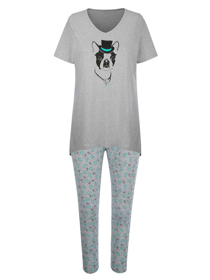 Blue Moon Pyjama met modieuze, puntige zoom, Grijs/Turquoise/Zwart