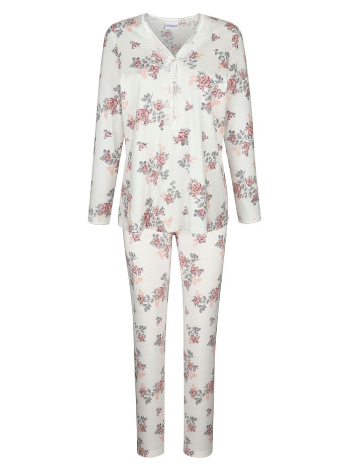 MONA Pyjama met romantische details van kant, Ecru/Apricot/Zilverkleur