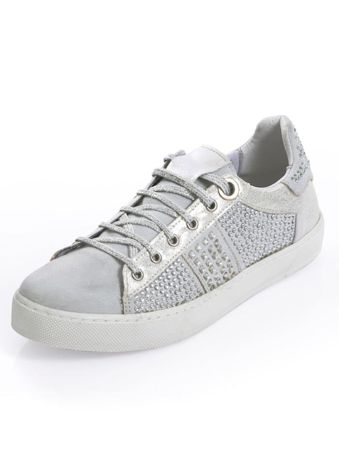 Alba Moda Sneaker im Materialmix, Silberfarben