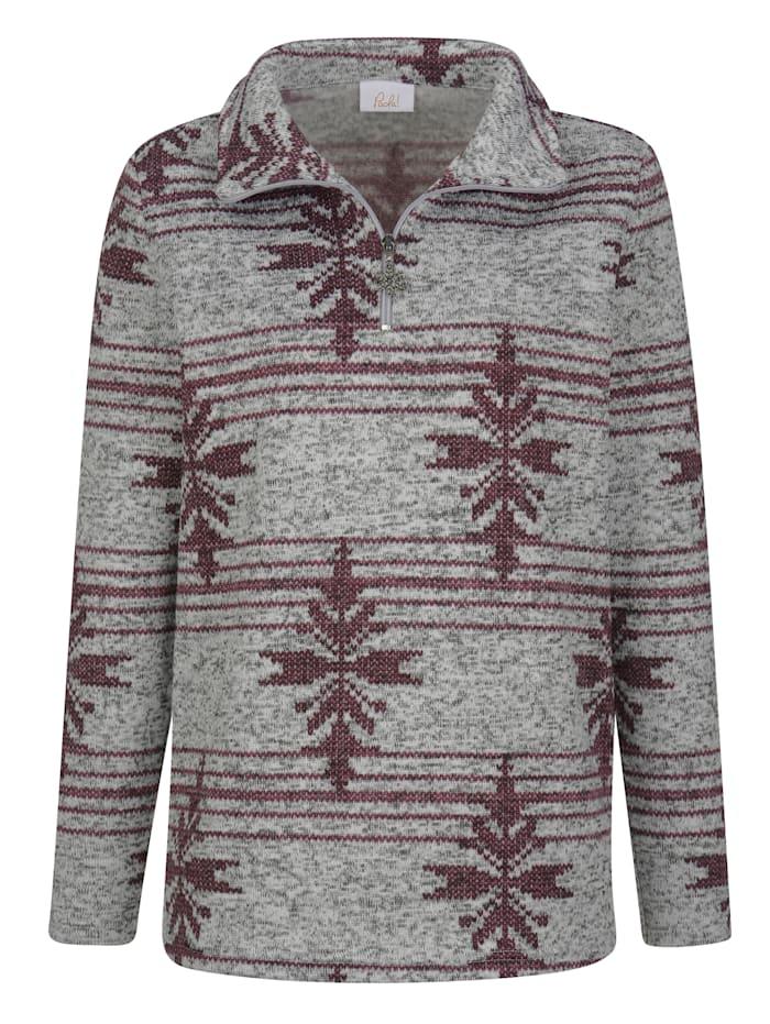 Fleece trui in gebreide look