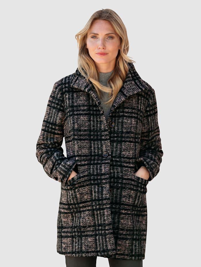 MONA Veste en laine mélangée à carreaux, Noir/Rose