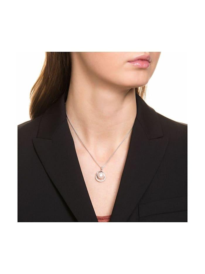 Kette mit Anhänger Halskette mit Perle und Zirkonia rhodiniert, Silber 925
