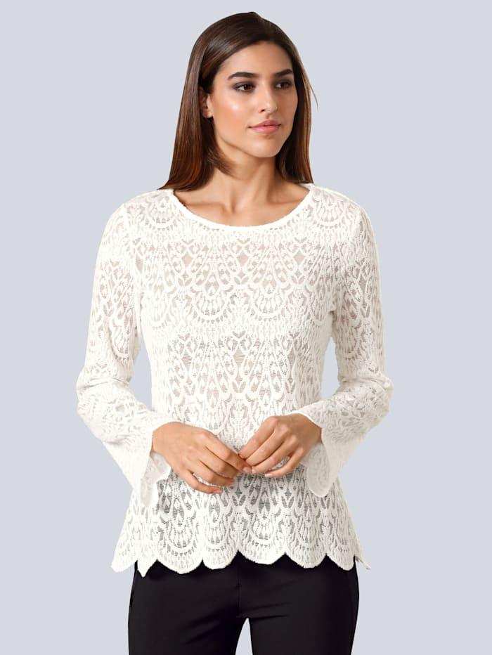 Alba Moda Bluse aus Spitze, Off-white