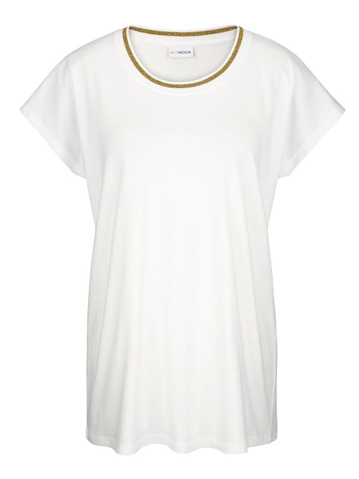 Shirt mit dekorativem Band am Ausschnitt