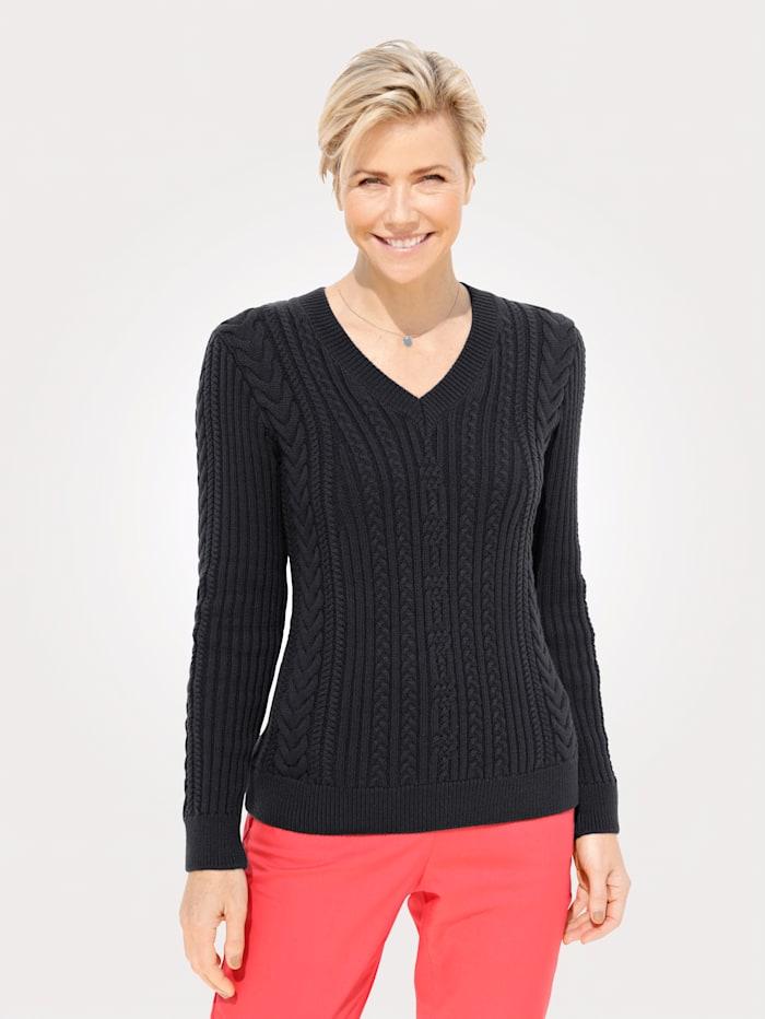 MONA Pullover mit Struktur- und Zopfstrick, Marineblau