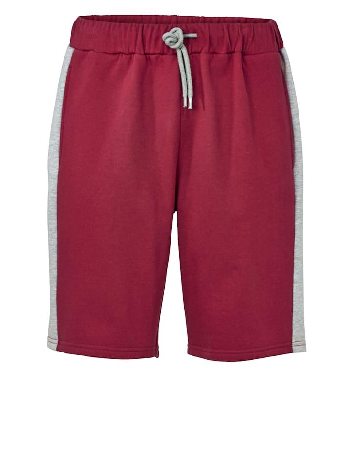 Men Plus Sweatbermuda, Rot/Grau