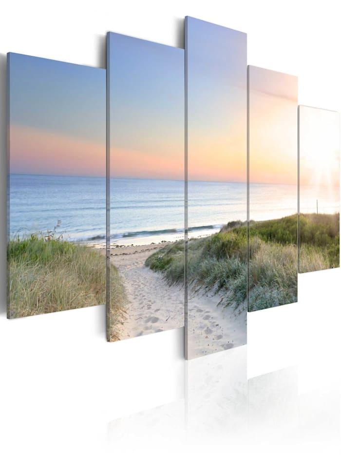 artgeist Wandbild Baltic Sea in the morning, Grün,Orange,Himmelblau,Beige