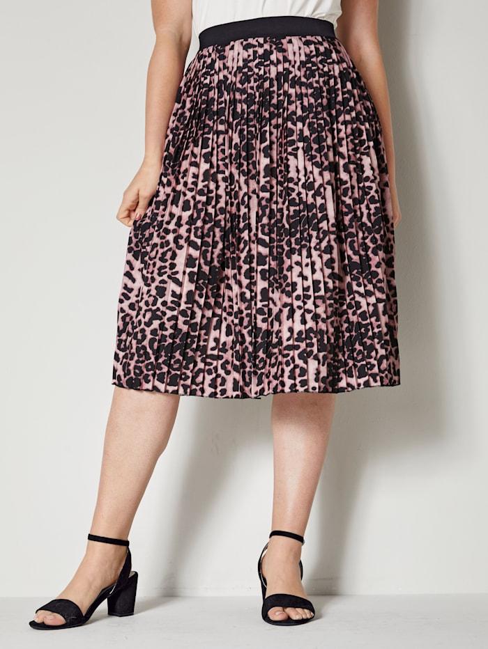 Sara Lindholm Leopardikuvioitu pliseehame, punainen/pinkki/musta