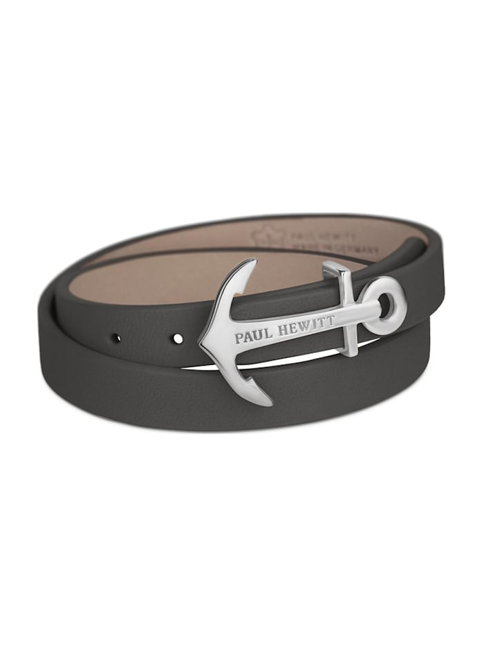 Paul Hewitt Paul Hewitt Unisex-Armband Leder/Edelstahl, grau