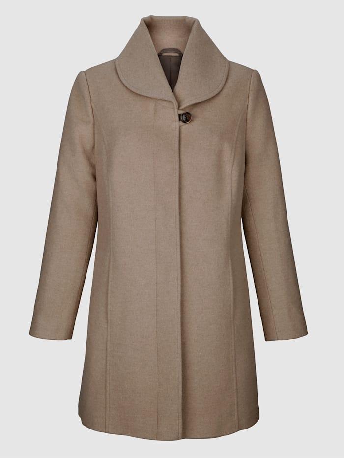 Wollen mantel met sjaalkraag