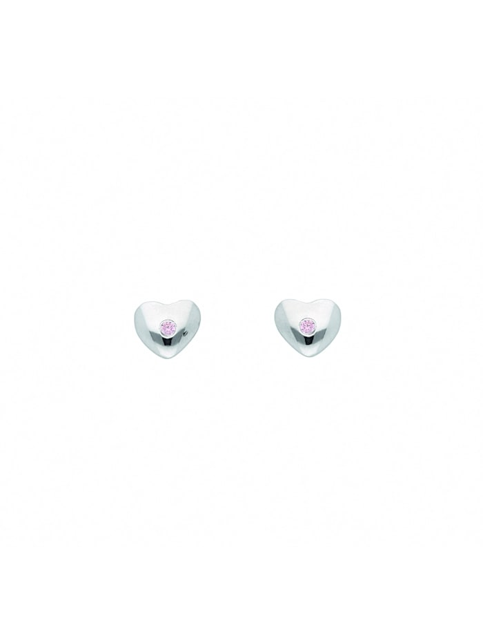1001 Diamonds Damen Silberschmuck 925 Silber Ohrringe / Ohrstecker Herz mit Zirkonia, rose