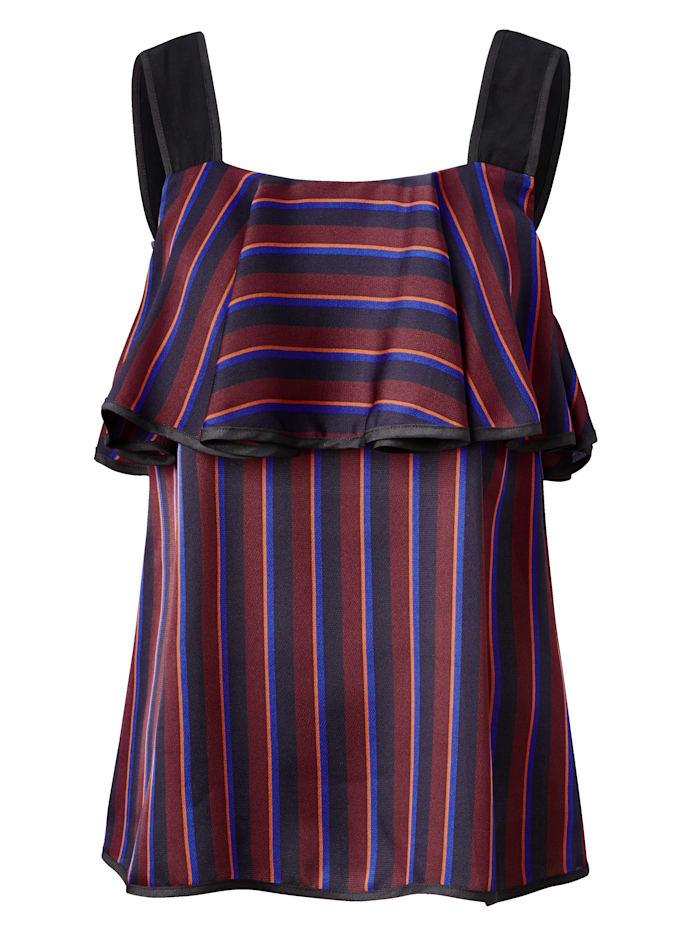 SIENNA Blusentop aus Satin mit modischem Pyjama-Streifen, Bordeaux