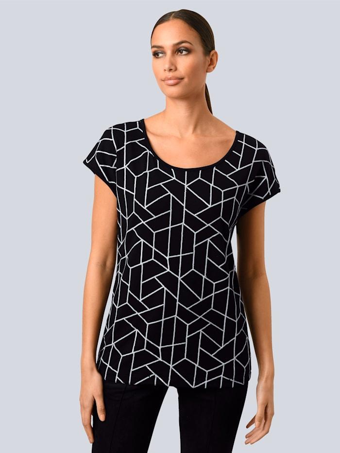 Alba Moda Shirt im Vorderteil mit Pailletten bestickt, Schwarz/Weiß