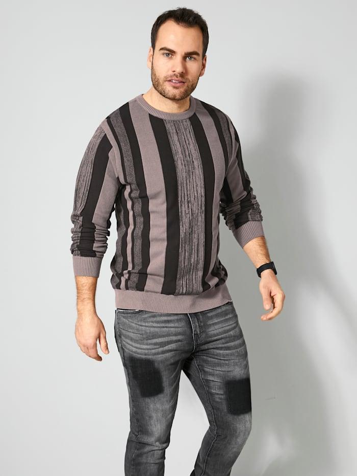 Men Plus Pullover mit Streifen-Design, Grau/Schwarz