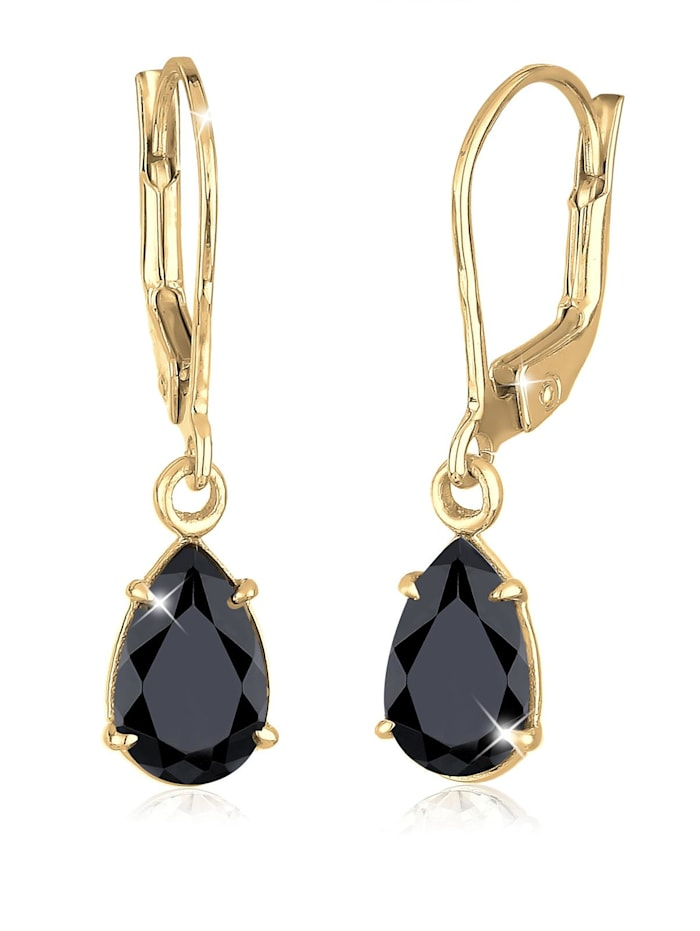 Elli Premium Ohrringe Tropfen Klassisch Kristalle 925 Silber, Schwarz