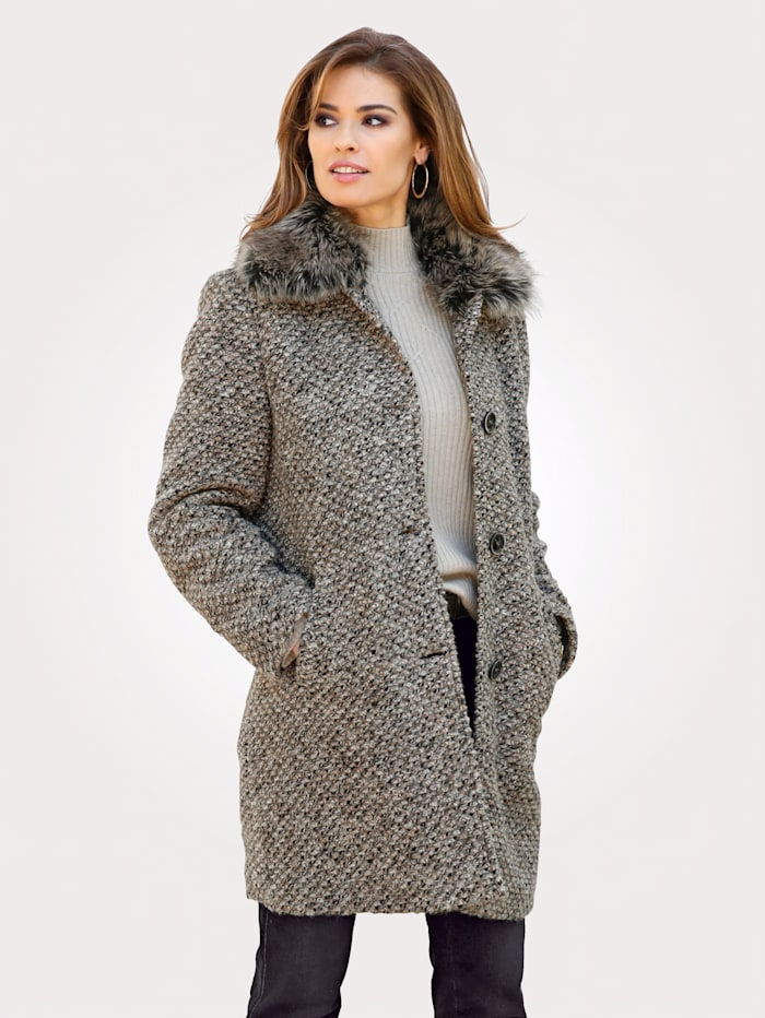 MONA Wool-blend coat with a faux fur collar, Beige/Grey