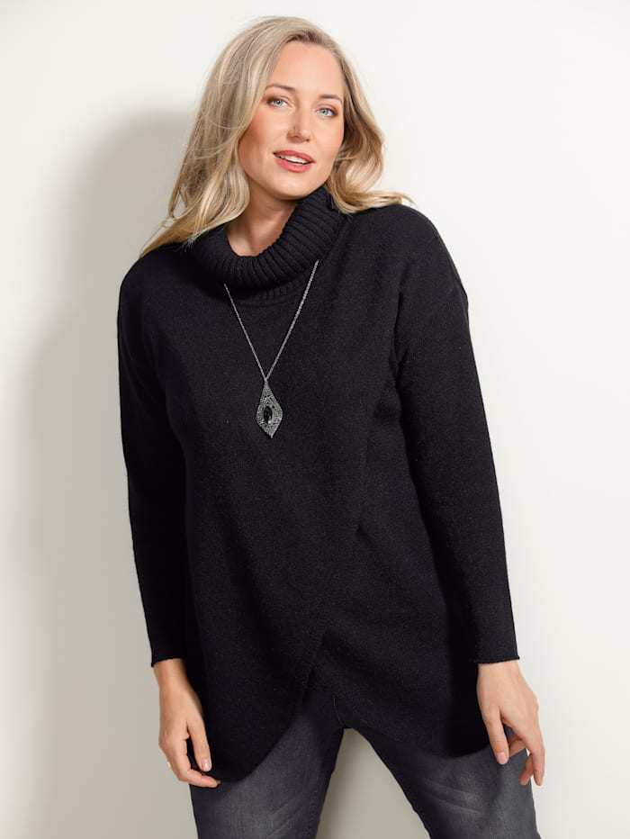 MIAMODA Pullover mit überschnittener Schulter, Schwarz