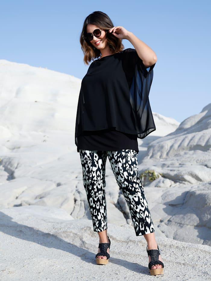 Sara Lindholm 2-in-1 Shirt, Schwarz
