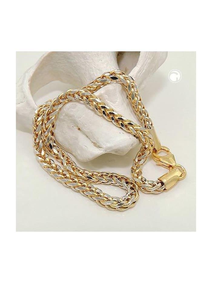 Gallay Schmuckgroßhandel Armband 2,4mm Zopfkette bicolor 14Kt GOLD 19cm, gold
