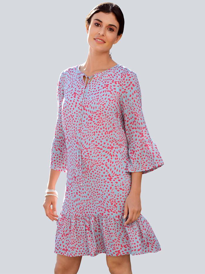 Alba Moda Kleid mit abstraktem Animal-Print, Blau/Koralle