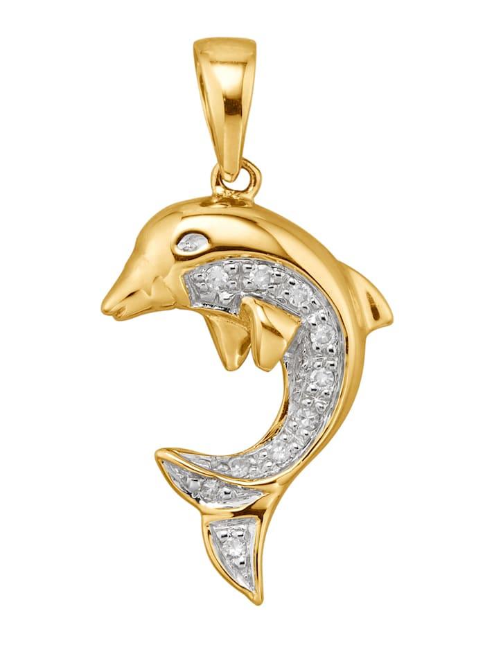 Diemer Diamant Delfin-Anhänger mit Diamanten, Gelbgoldfarben