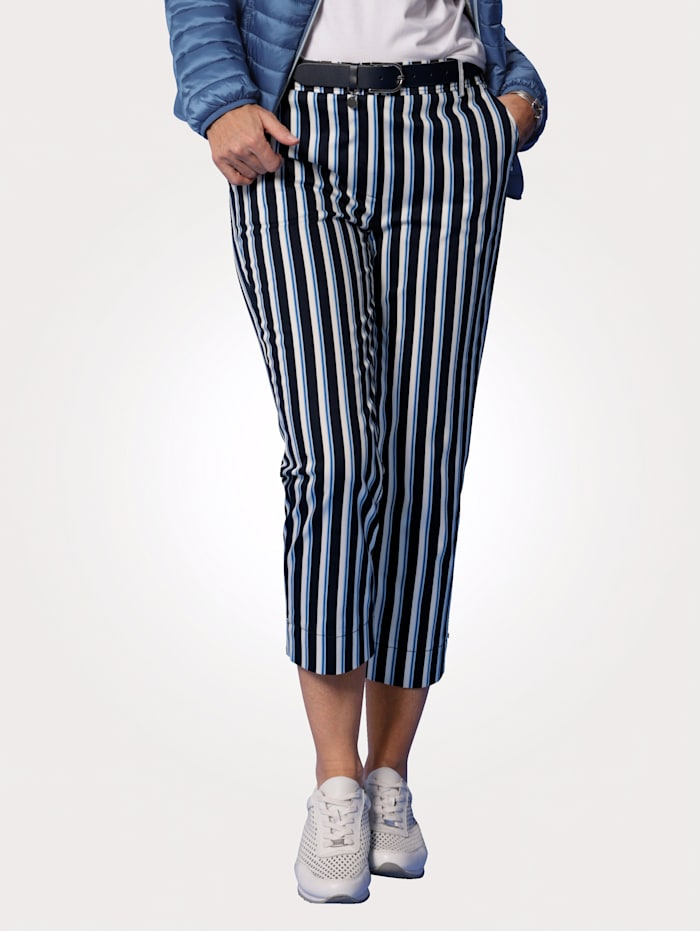 MONA Cropped trousers in a striped design, Navy/White/Royal Blue