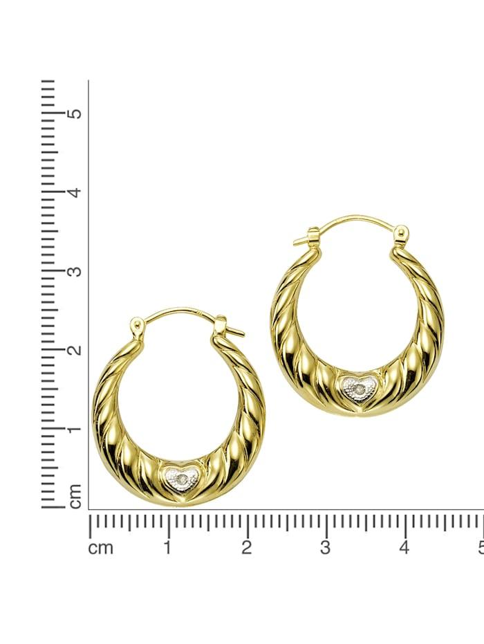 Creolen 333/- Gelbgold Diamanten 0,005ct. 333/- Gold Diamant weiß Diamant 2,2cm Glänzend 0,005ct. 585/- Gold