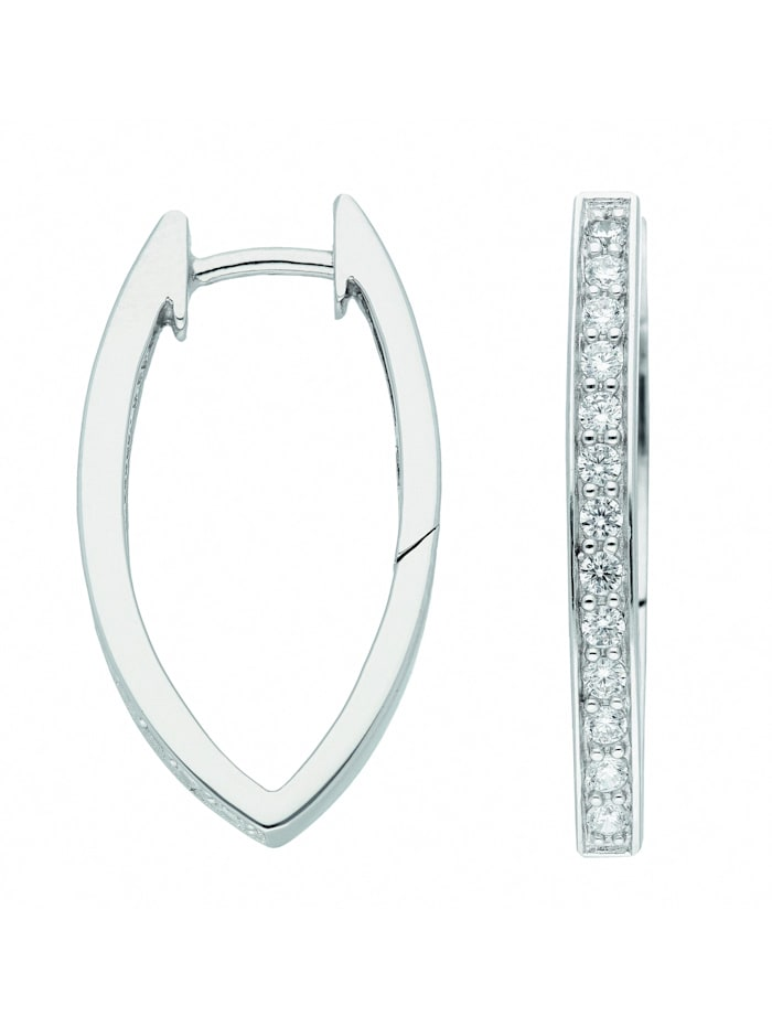 1001 Diamonds Damen Silberschmuck 925 Silber Ohrringe / Creolen mit Zirkonia, silber