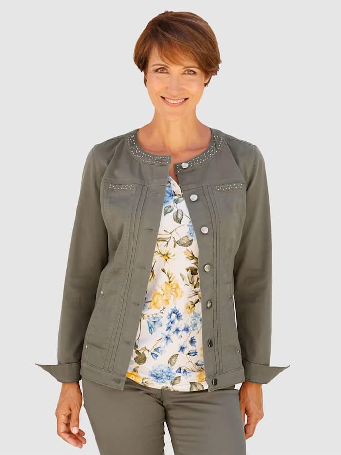 Paola Veste en jean avec application de pierres fantaisie, Kaki