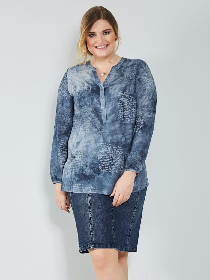 MIAMODA Tuniek met grafische en batikprint, Blauw/Wit