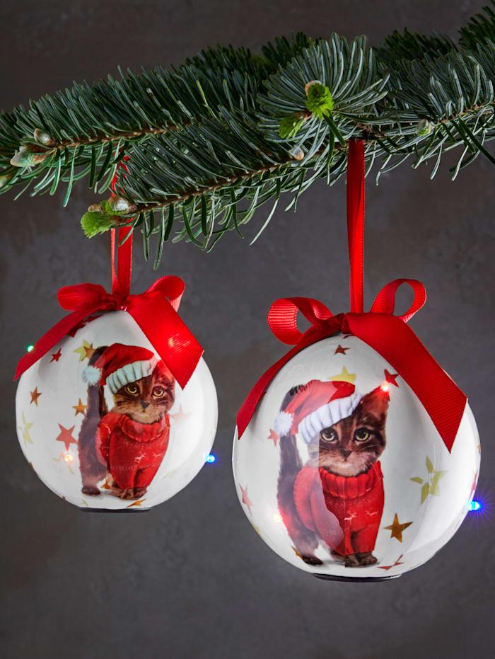 Set van 2 led-kerstballen Katjes