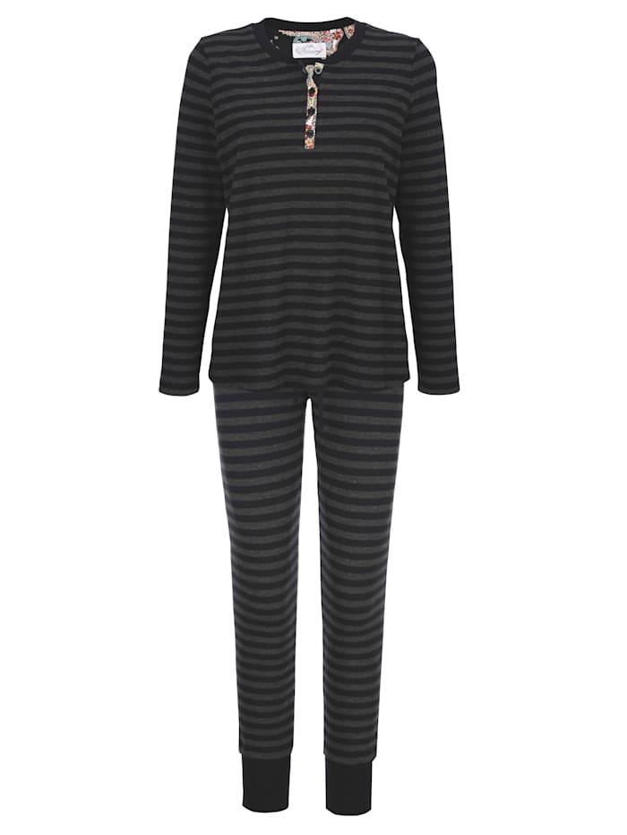 Ringella Bloomy Pyjama met ingebreid streepdessin, Zwart/Antraciet