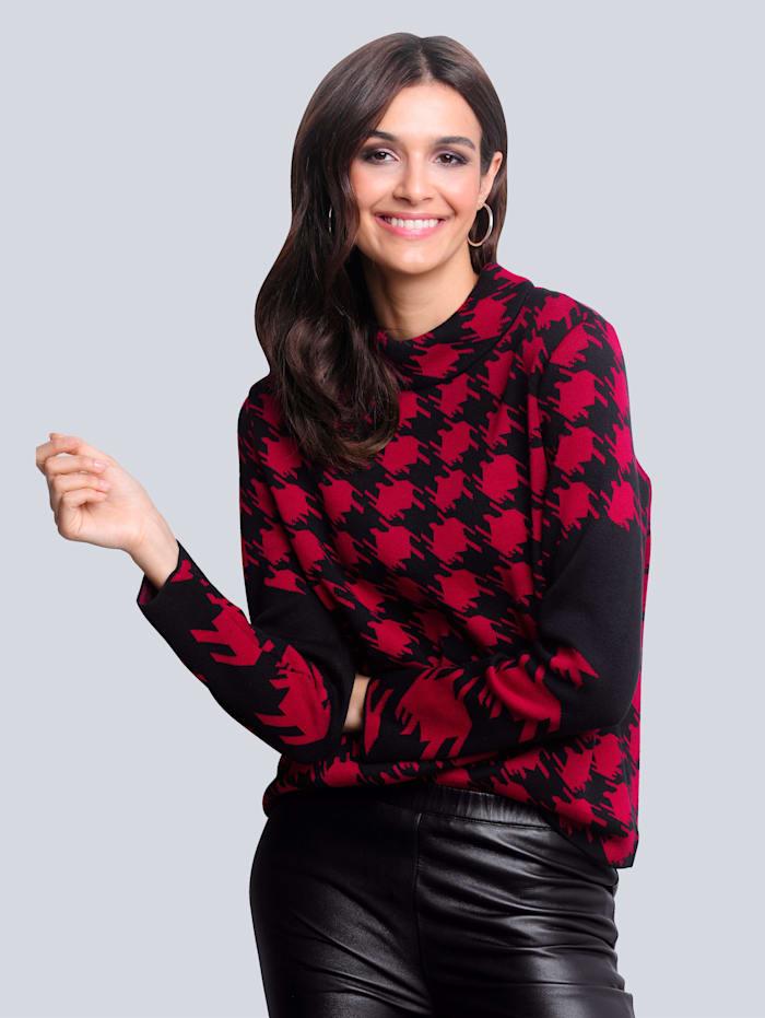 Alba Moda Pullover mit exklusivem Dessin von Alba Moda, Rot/Schwarz