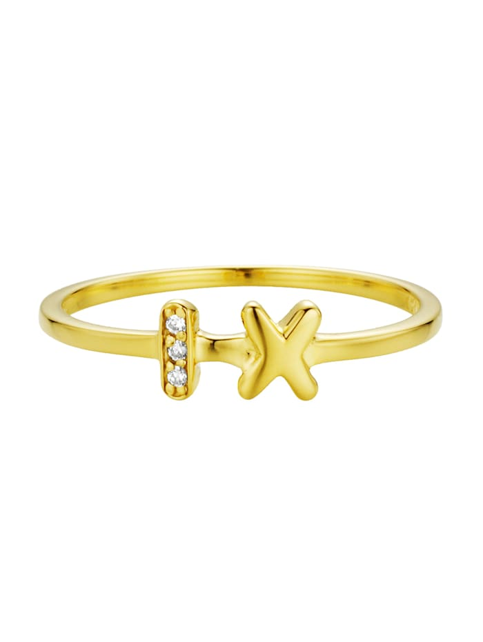 CAI Ring 925/- Sterling Silber Zirkonia weiß Glänzend 925/- Sterling Silber, gelb