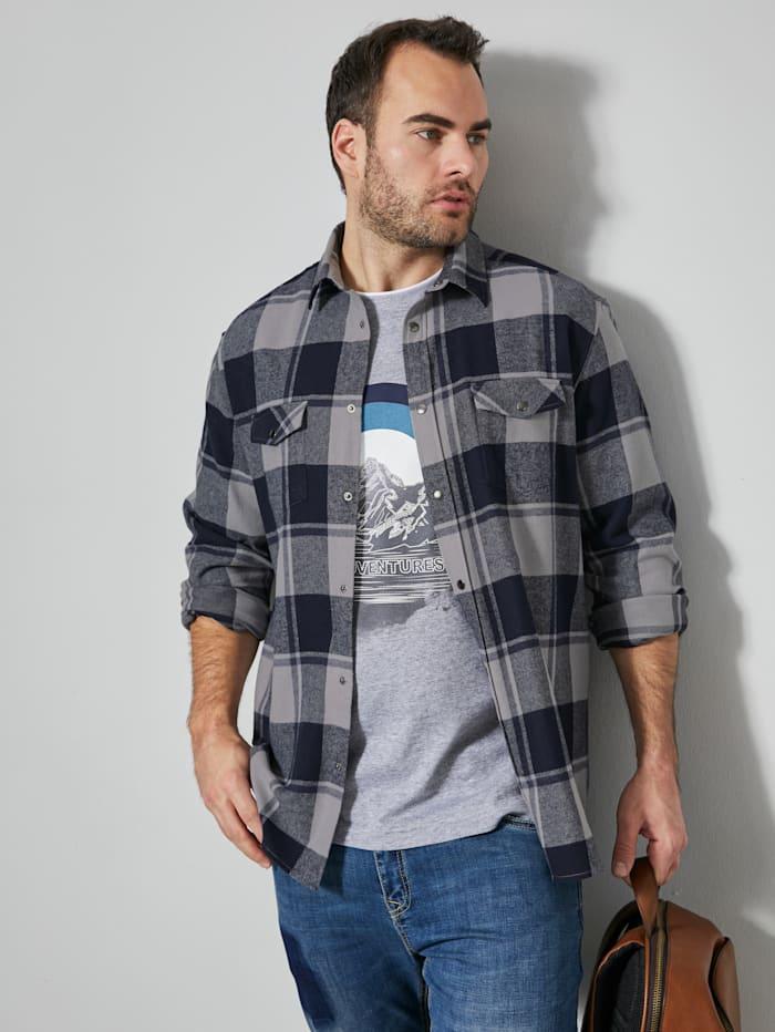 Men Plus Flanellhemd mit Druckknöpfen, Marineblau/Grau