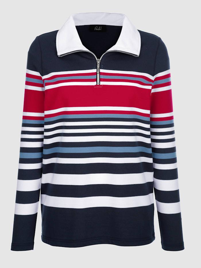 Randig sweatshirt med dragkedja