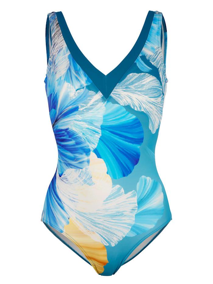 Sunmarin Badeanzug, blau/weiß/vanille