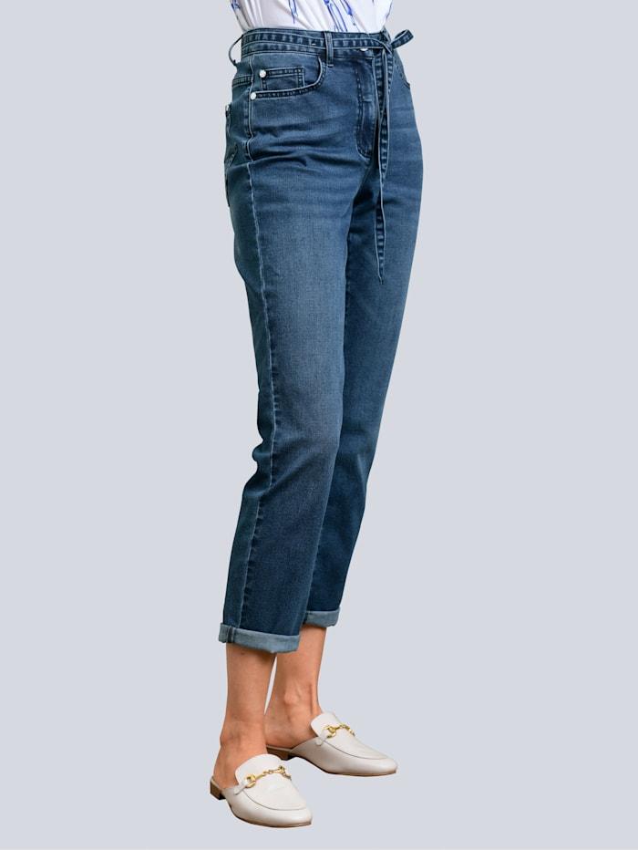 Alba Moda Jeans mit Bindegürtel, Jeansblau