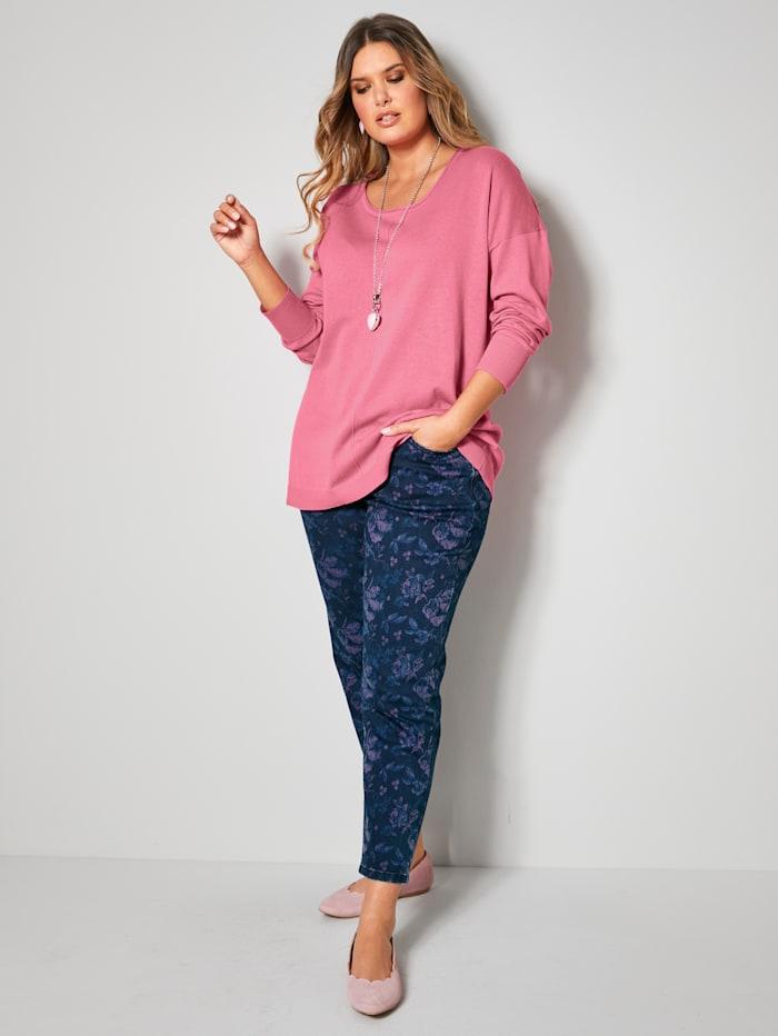 Janet & Joyce Jeans met bloemendessin rondom, Marine/Pink/Lichtblauw